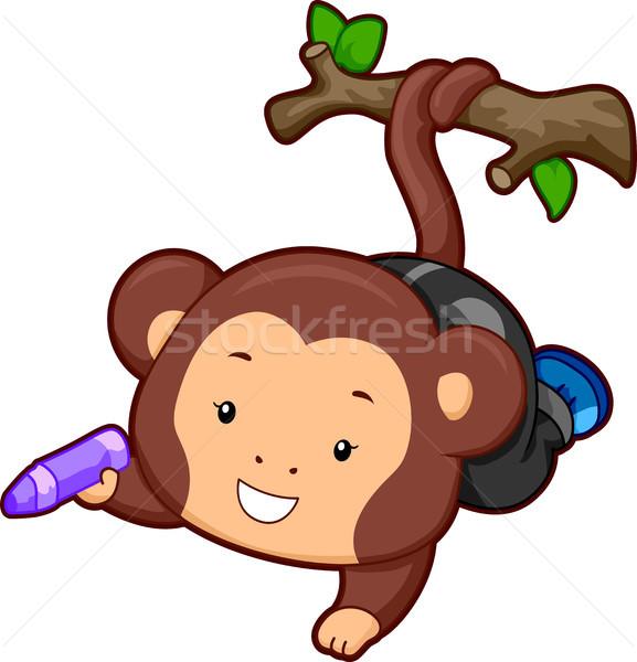 Monkey holding a Crayon Stock photo © lenm