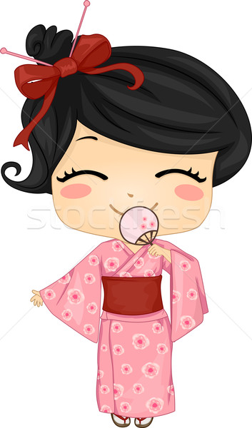 мало Японский девушки костюм иллюстрация Сток-фото © lenm