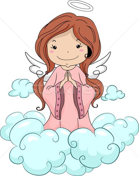 Lány angyal imádkozik illusztráció térdel felhők Stock fotó © lenm