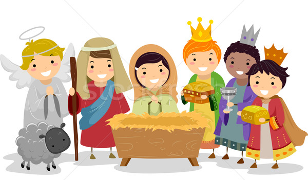 Stock photo: Stickman Kids in Nativity School Play
