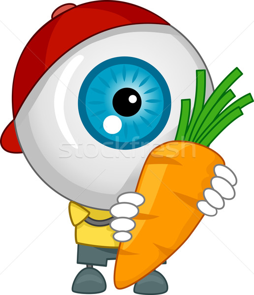 Eyeball Mascot Carrying a Carrot Stock photo © lenm