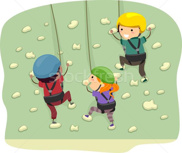 стены скалолазания иллюстрация дети Gear девушки Сток-фото © lenm