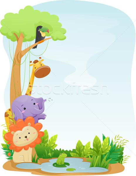 サファリ動物 背景 実例 かわいい デザイン ライオン ストックフォト © lenm