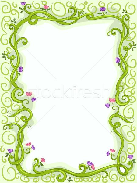 Wijnstok frame illustratie wijnstokken achtergrond kunst Stockfoto © lenm