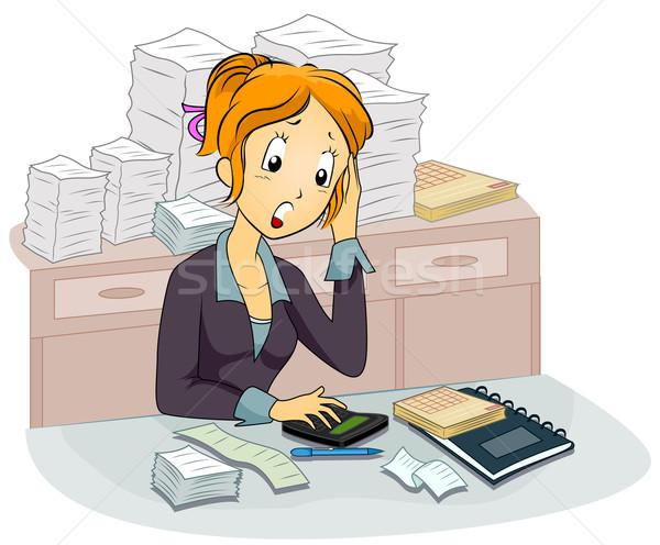 женщины бухгалтер иллюстрация вычисление служба девушки Сток-фото © lenm