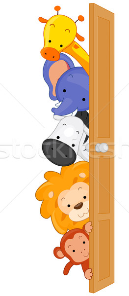 животные иллюстрация животных зоопарка за двери лошади Сток-фото © lenm