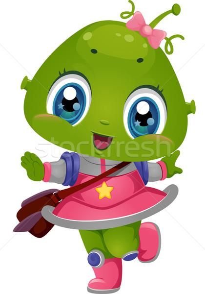 Alien Girl School Bag Stock photo © lenm