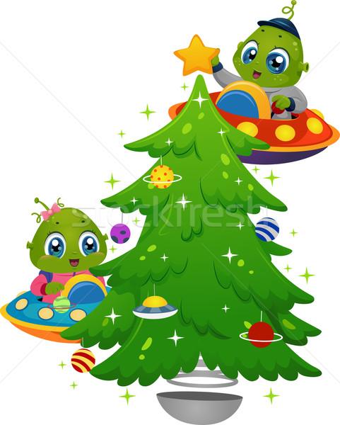 árvore de natal ilustração pequeno crianças criança arte Foto stock © lenm