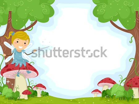 Fairies Hovering Over Mushrooms Stock photo © lenm
