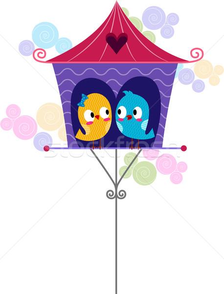 Lovebirds in a Birdhouse Stock photo © lenm
