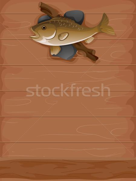 Tassidermia pesce illustrazione ripieno sfondo pesca Foto d'archivio © lenm