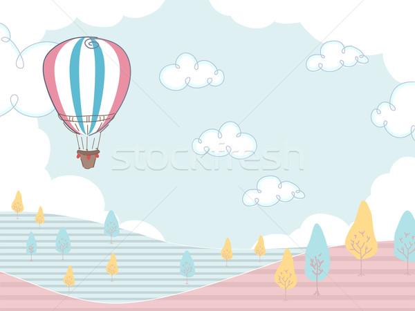 Hőlégballon illusztráció lebeg mező háttér nyár Stock fotó © lenm