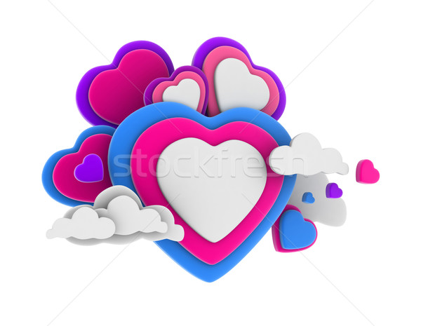 Coeur nuages 3d illustration coloré amour Photo stock © lenm