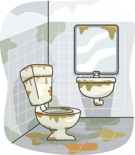 Koszos wc illusztráció fedett mocsok szoba Stock fotó © lenm