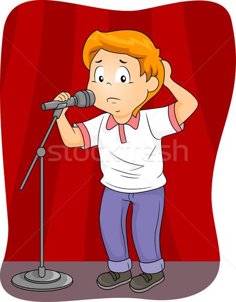 Kid Boy Fear Public Speaking Performance Stock photo © lenm