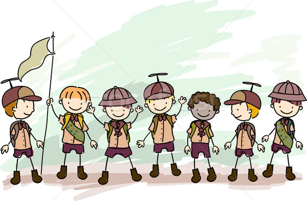 Stock fotó: Fiú · firka · illusztráció · gyermek · csoport · gyerek