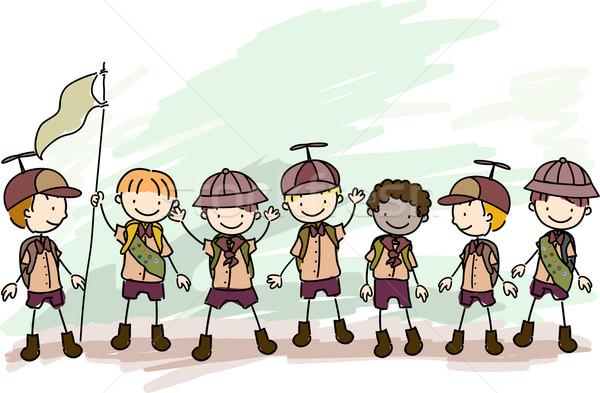 Jongen doodle illustratie kind groep kid Stockfoto © lenm