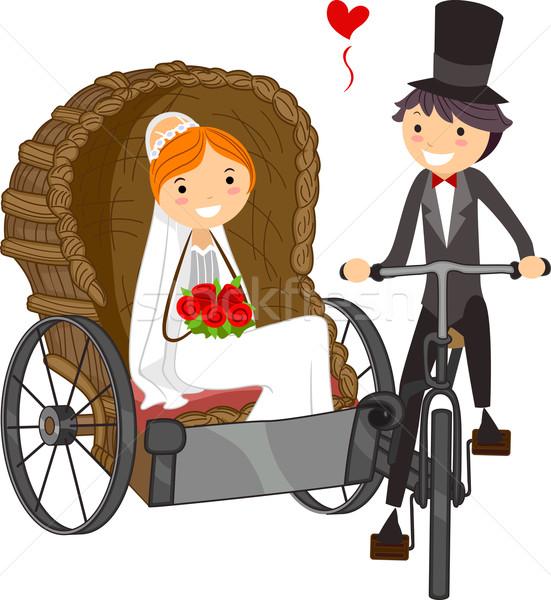 結婚式 キャリッジ 実例 花嫁 少女 カップル ストックフォト © lenm