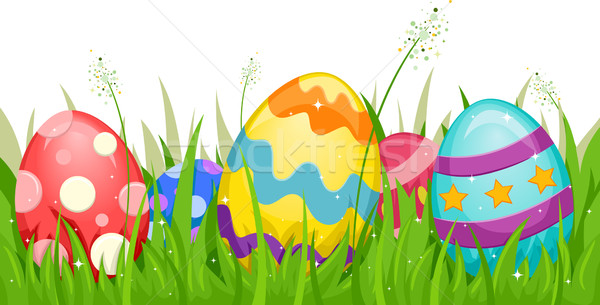 Stock Photo Vector Illustration Of Easter Eggs Hidden In The Grass