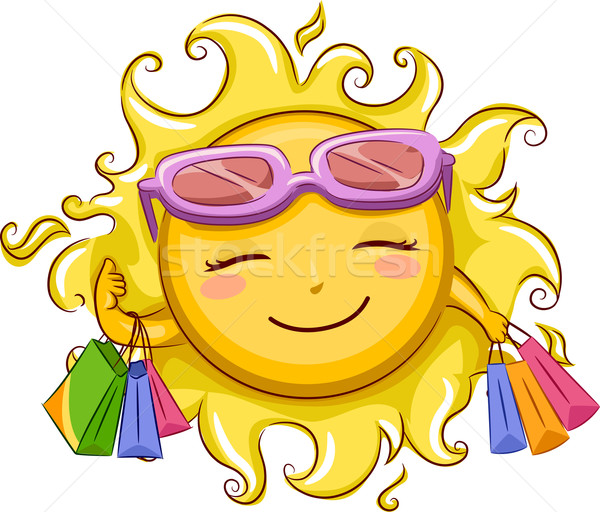 Foto stock: Sol · compras · ilustración · femenino · gafas · de · sol · ocio