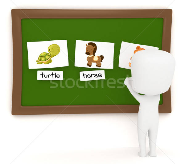 Stockfoto: Matching · spel · 3d · illustration · kid · dier · foto's