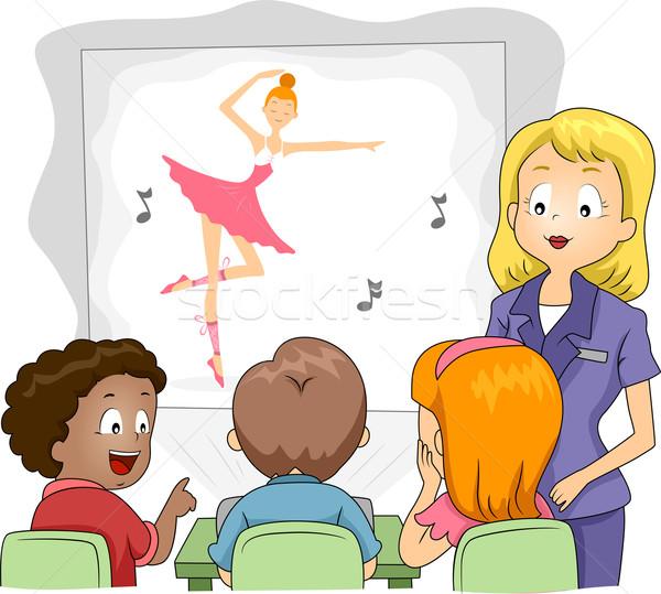 Gyerekek projektor illusztráció néz előadás lány Stock fotó © lenm