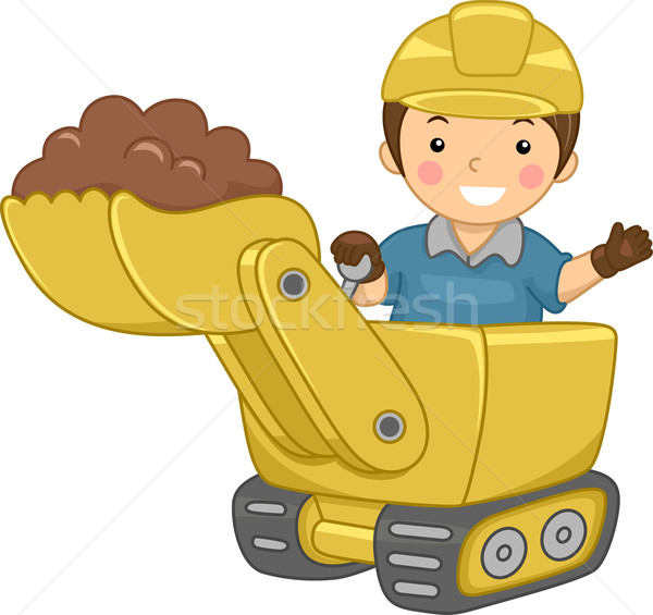 Bulldozer kid illustratie glimlachend bouw kind Stockfoto © lenm
