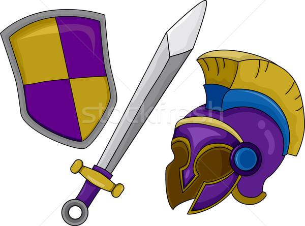 Gladiator Helmet Shield and Sword Stock photo © lenm