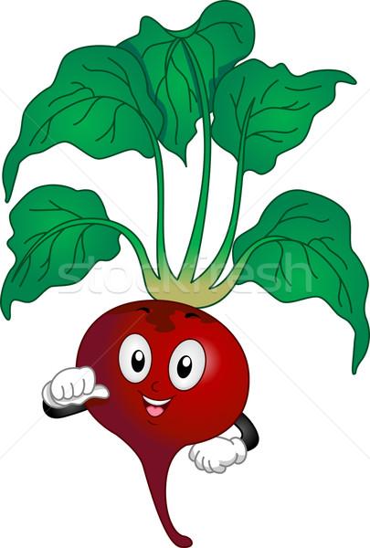 Czerwony burak maskotka ilustracja wskazując warzyw Zdjęcia stock © lenm