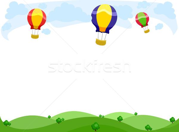 Hot Air Balloons Border Stock photo © lenm