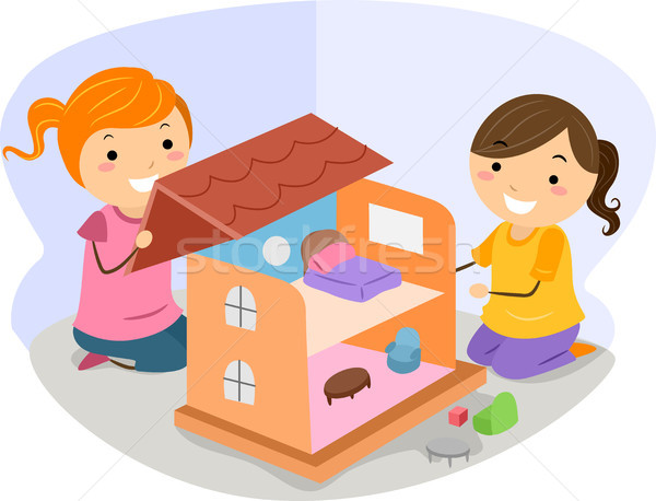 Girls Playing with a Dollhouse Stock photo © lenm