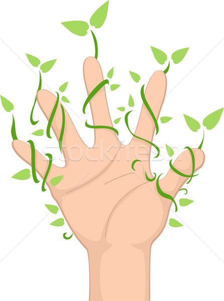 Hand with Leaf Vines Stock photo © lenm