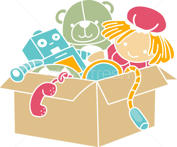 Box of Toys Stencil Stock photo © lenm