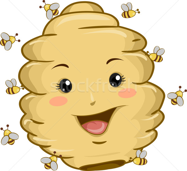 Beehive Mascot with Bees Stock photo © lenm