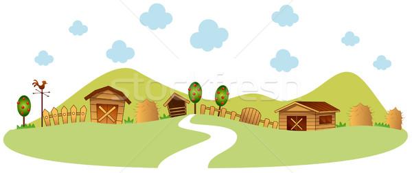 фермы иллюстрация дороги забор сарай Сток-фото © lenm
