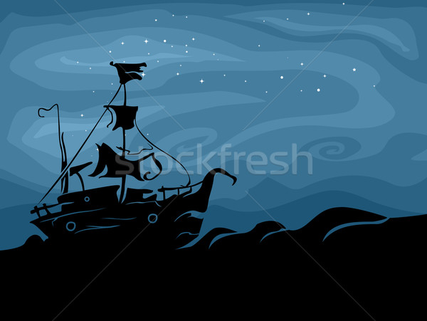 Fantasma navio silhueta mar projeto fundo Foto stock © lenm