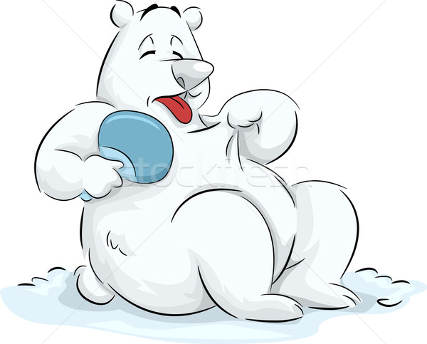 Globális felmelegedés jegesmedve illusztráció bolyhos hideg hó Stock fotó © lenm
