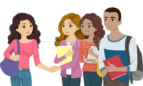 Faculdade introdução ilustração um outro aperto de mão Foto stock © lenm