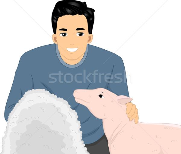 Owiec wełny człowiek ilustracja płaszcz Zdjęcia stock © lenm