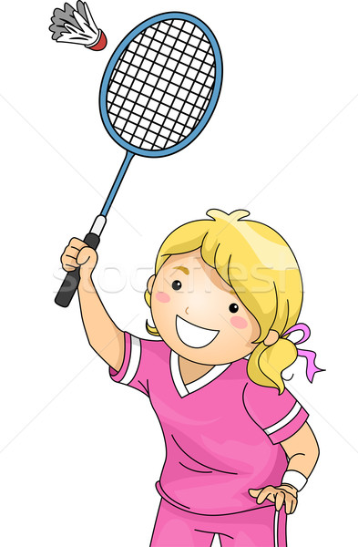 Badminton fille illustration jouer sport jeunes Photo stock © lenm
