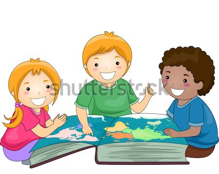 Lecture livre groupuscule enfants fille enfants Photo stock © lenm