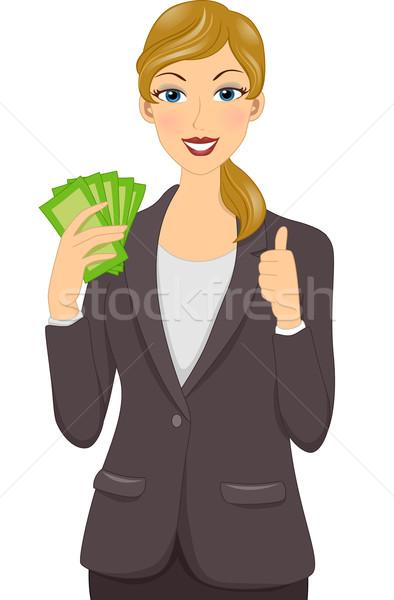 деловая женщина утверждение иллюстрация пару бумаги Сток-фото © lenm