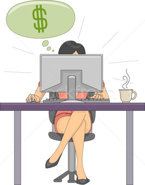 Online baan inkomsten illustratie vrouw dollar Stockfoto © lenm