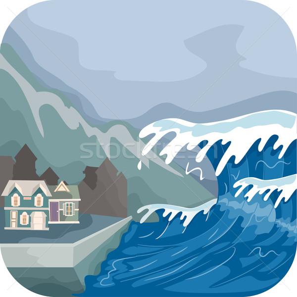 Tsunami ilustração mar ondas aldeia vetor Foto stock © lenm