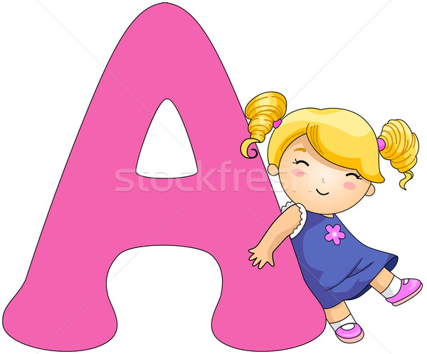 Alphabet illustration fille lettre enfant Photo stock © lenm