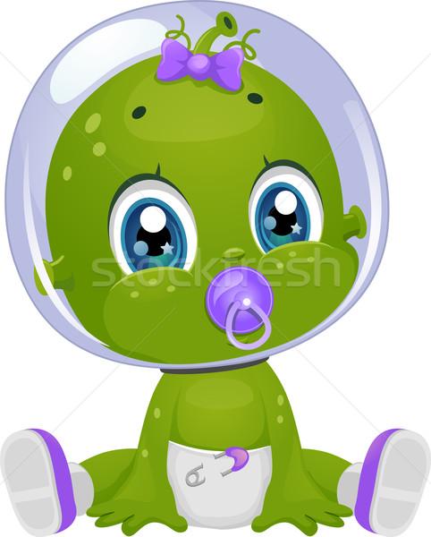 Idegen kislány pelenka cumi illusztráció női Stock fotó © lenm
