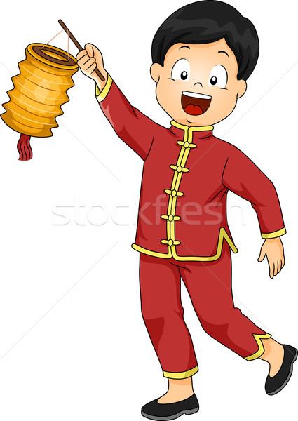 Kid Junge chinesisch Laterne Illustration Kostüm Stock foto © lenm