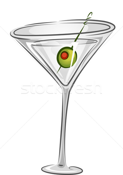 Bebidas martini ilustração beber oliva enfeite Foto stock © lenm