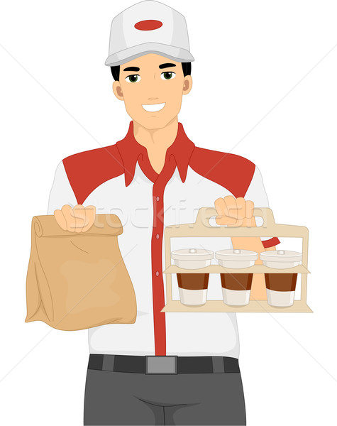 Man Take Out Orders Stock photo © lenm