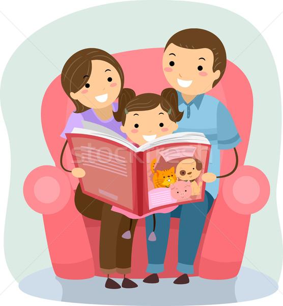 Stickman Family Reading Book Stock photo © lenm